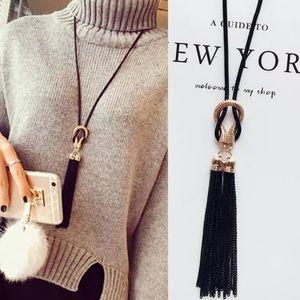 {KELLEN} knotted tassel pendant statement necklace